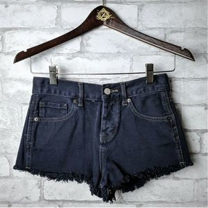 Brandy Melville Dark Wash Denim Shorts Raw Cutoff